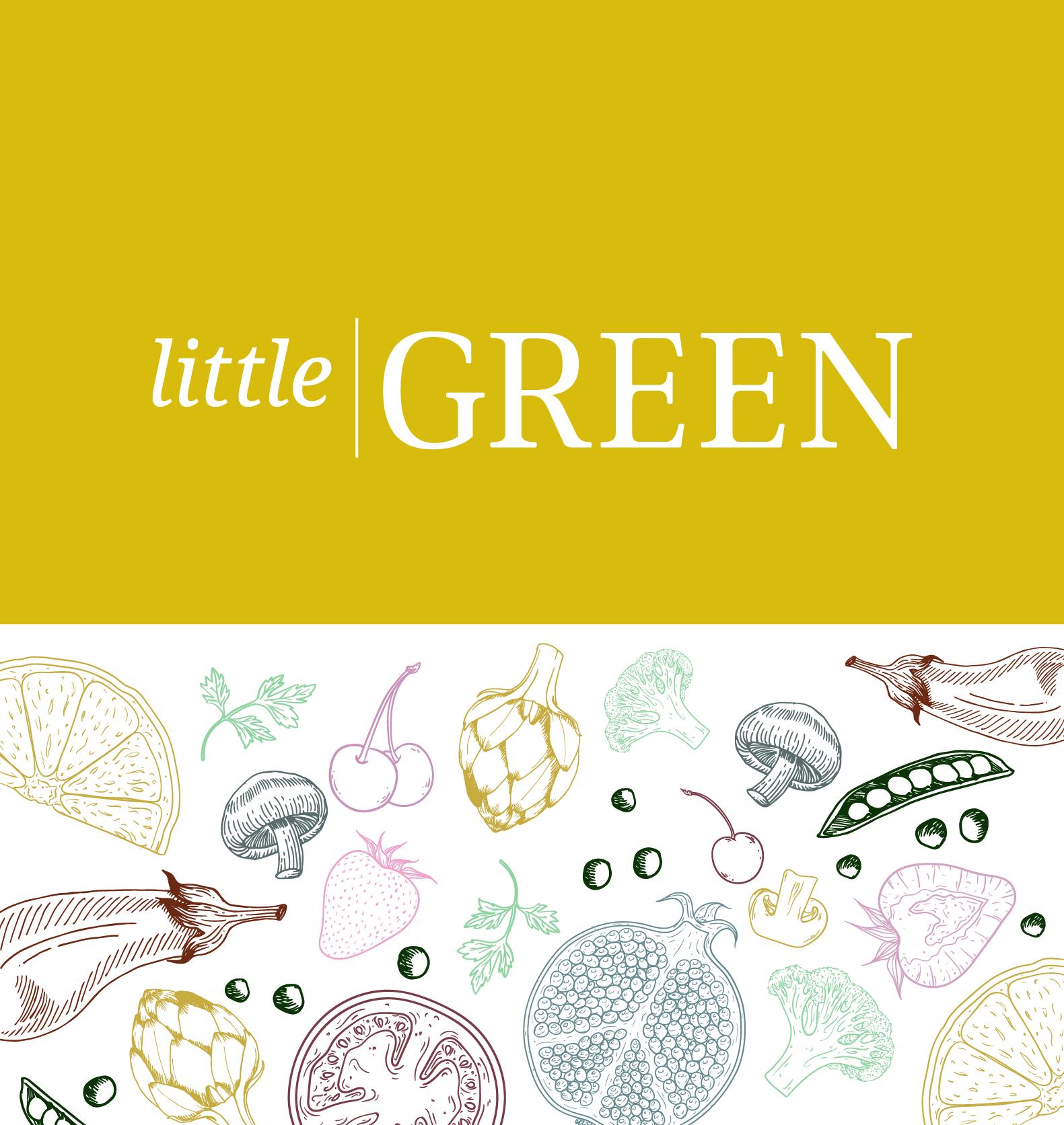 visuele identiteit met illustratieve elementen voor huisstijl Little Green